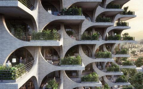 特拉维夫拱廊高层公寓住宅建筑letou国际米兰下载方案/Penda