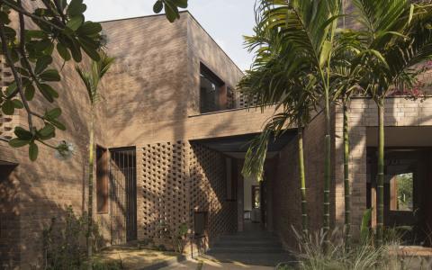 印度班加罗尔红砖独立住宅建筑letou国际米兰下载/CollectiveProject